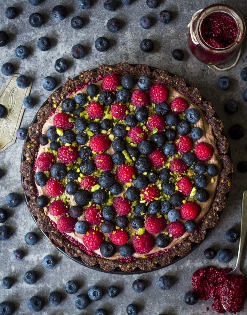 Overhead image of Vegan Chocolate Mousse Pie Tart