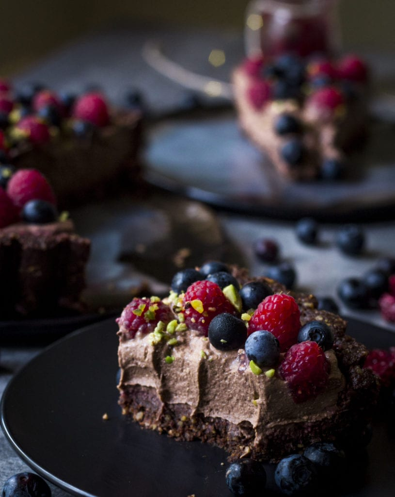 Slice of Vegan Chocolate Mousse Pie Tart