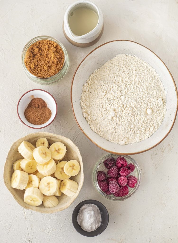 Ingredients for vegan banana bread muffins with raspberry and white chocolate