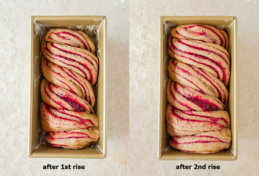 Two image collage showing second rise of the jam donut babka
