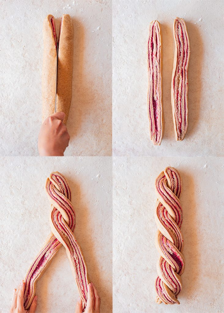 Four image collage showing how to twist the vegan baka