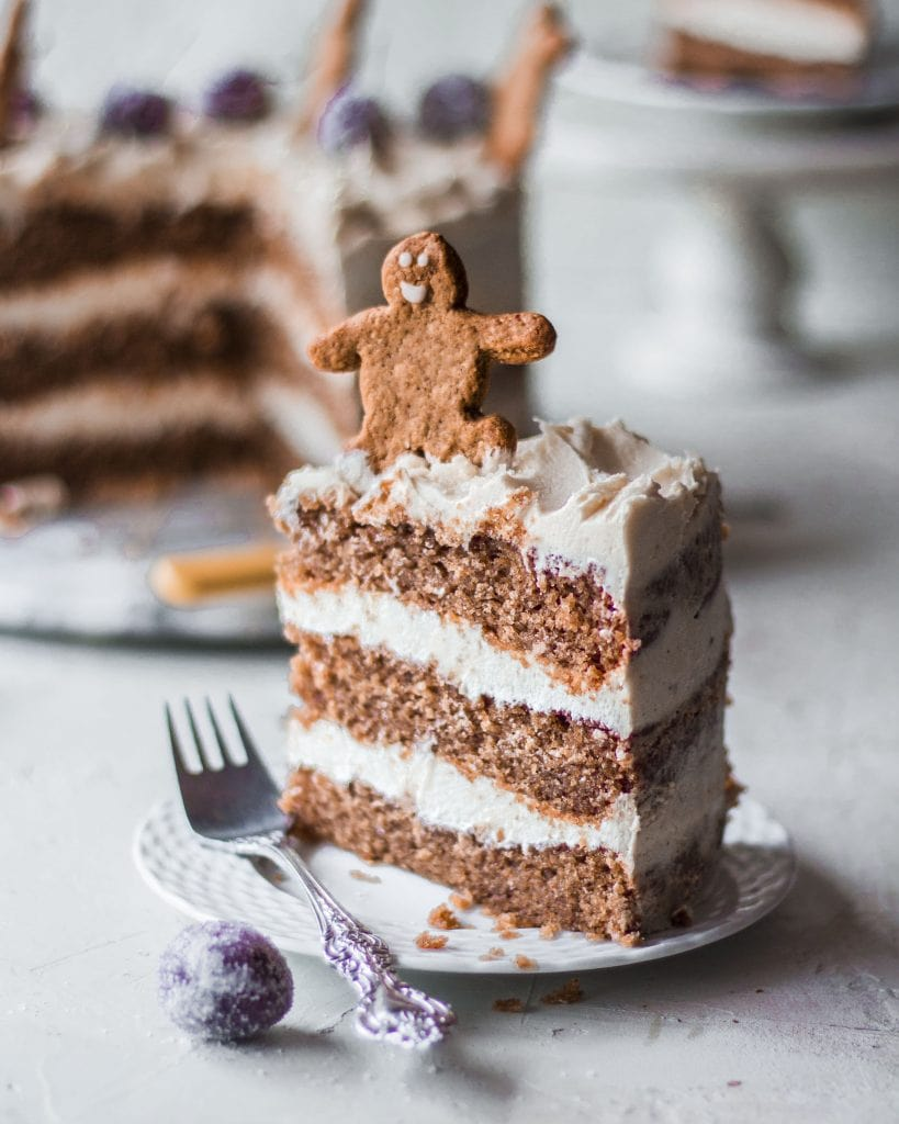 slice of vegan gingerbread cake showing layers