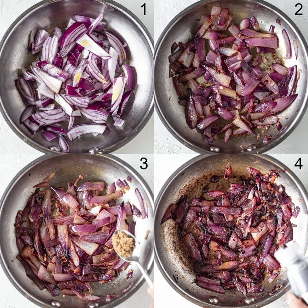 Step-by-step pictures of how to caramelise onions