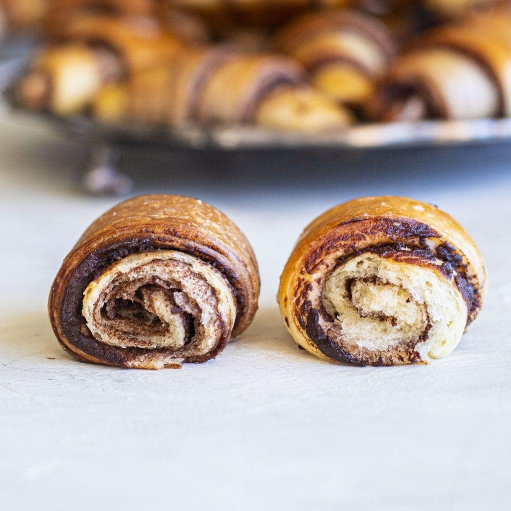 cross section of two vegan chocolate rugelach