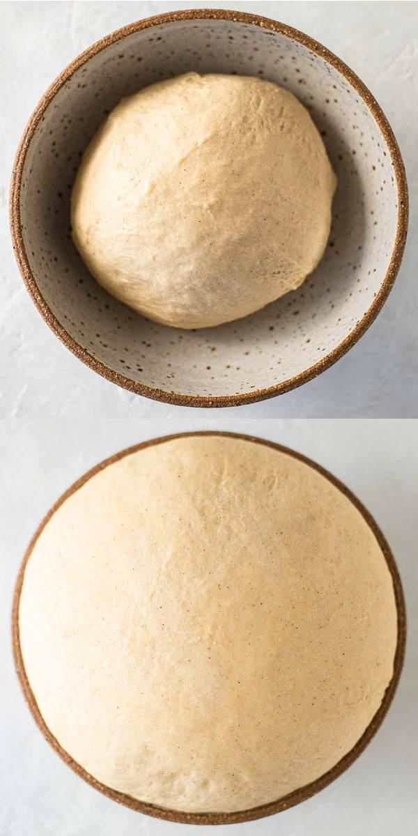 First rise of dough for Vegan Sticky Cinnamon Buns (rolls, scrolls)