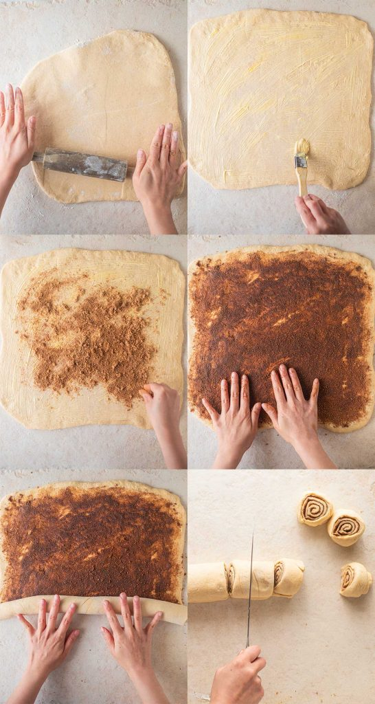 Step-by-step pictures of making Vegan Sticky Cinnamon Buns (rolls, scrolls)