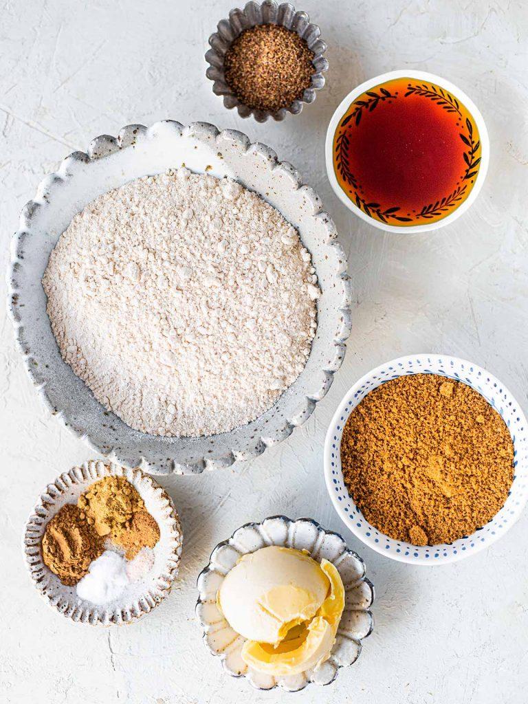 Flatlay of ingredients for refined sugar free gingerbread cookies
