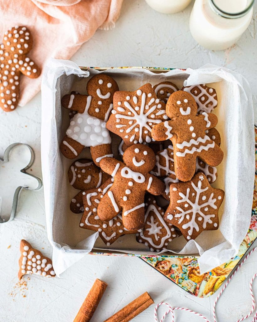 Decorated refined sugar free gingerbread cookies in a vintage gift box